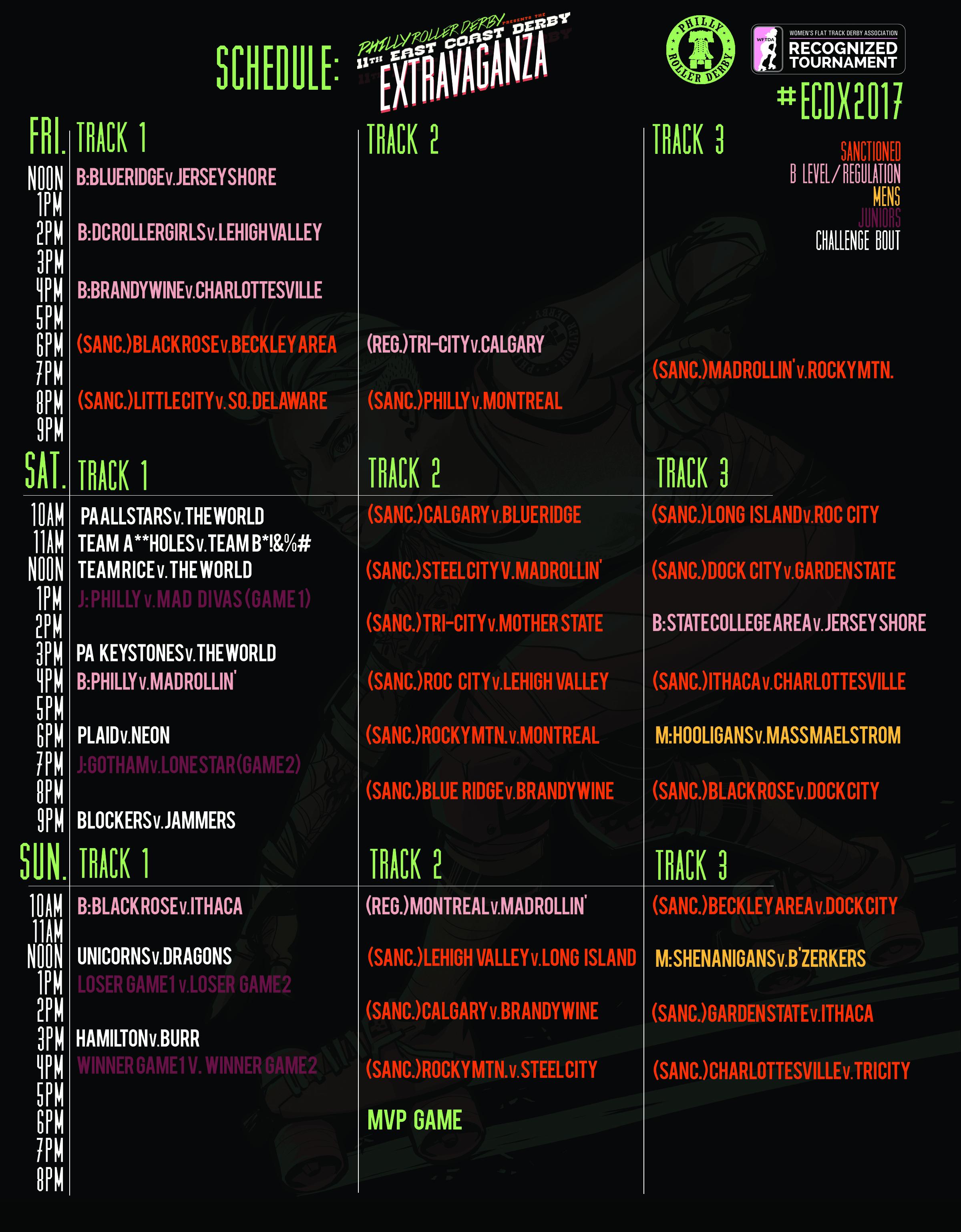 ECDX 2017 bout schedule